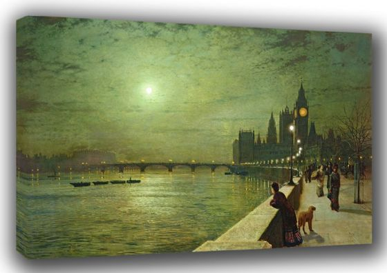 Grimshaw, John Atkinson: Reflections on the Thames, Westminster. London/Big Ben Fine Art Canvas. Sizes: A3/A2/A1. (003232)